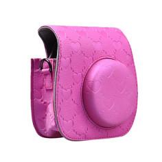 Сумка чехол для фотоаппарата Fujifilm Instax Mini 8 Сердца, розовый